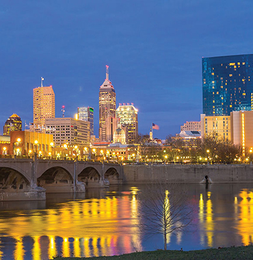 Indianapolis skyline from river at night