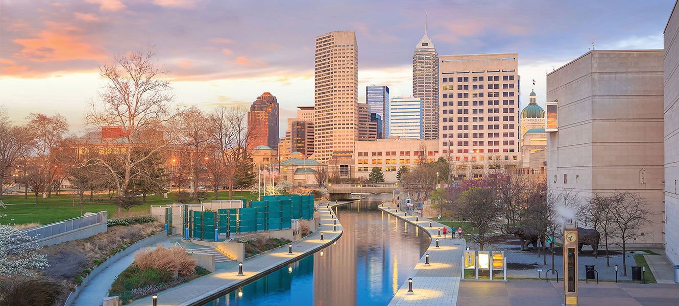 Indianapolis canal with skyline at dusk