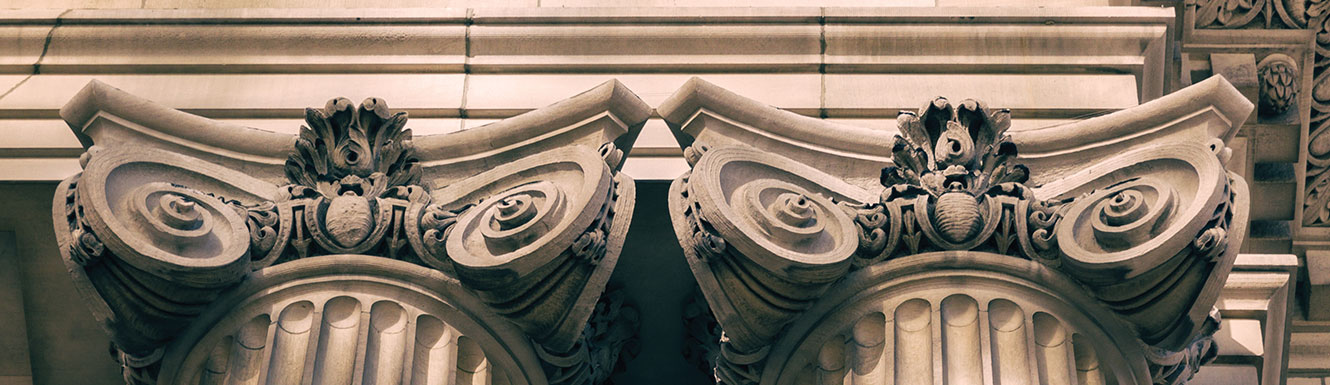two marble pillars of a building